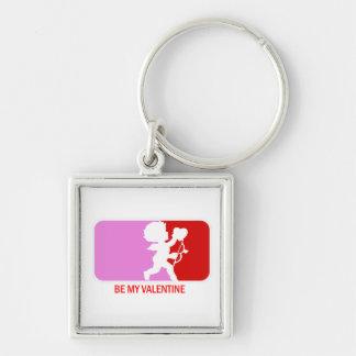 Sea mi tarjeta del día de San Valentín Llavero Cuadrado Plateado