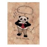Sea mi tarjeta del día de San Valentín, Panda. Tarjetas Postales
