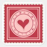Sea mi tarjeta del día de San Valentín Calcomanias Cuadradas