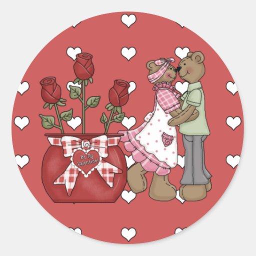 ¡Sea mi tarjeta del día de San Valentín! Pegatina Redonda