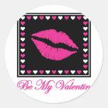 Sea mi tarjeta del día de San Valentín Pegatina Redonda