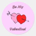 Sea mi tarjeta del día de San Valentín Pegatinas Redondas