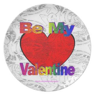 Sea mi tarjeta del día de San Valentín Plato Para Fiesta