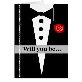 Sea mi tarjeta del padrino de boda con Tux y subió