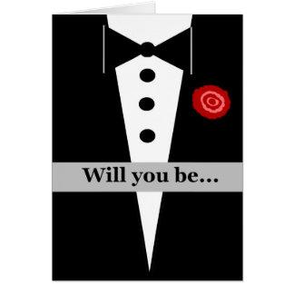 Sea mi tarjeta del padrino de boda con Tux y subió Tarjeta De Felicitación