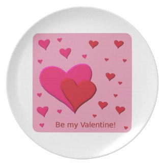 Sea mis corazones de la tarjeta del día de San Val Platos