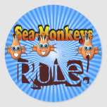 Sea Monkeys Monkees Design Round Sticker