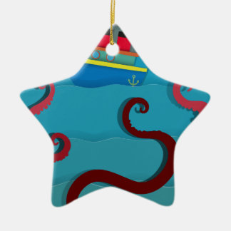 Sea monster attacking fighing boat ceramic ornament