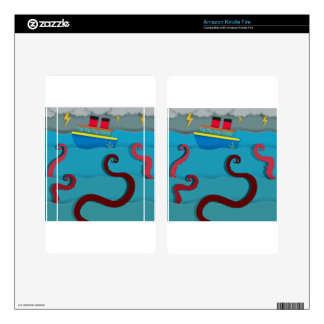Sea monster attacking fighing boat kindle fire decals