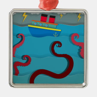 Sea monster attacking fighing boat metal ornament