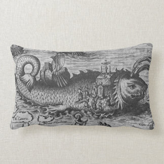Sea Monster Kraken Throw Pillow Black White