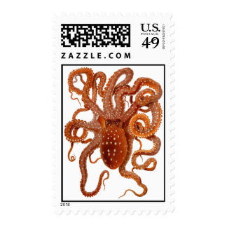 sea monster octopus - postage stamp