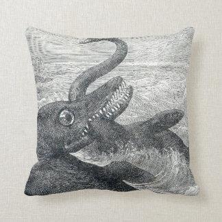 Sea Monster Vs. Sea Serpent Throw Pillow