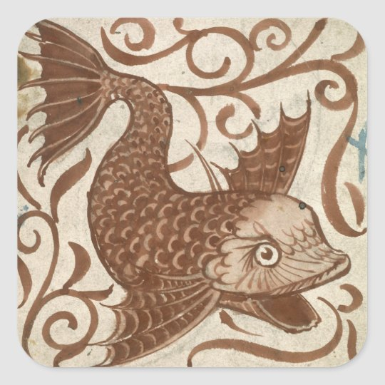 Sea Monster (w/c on paper) Square Sticker