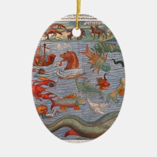 Sea Monsters Ceramic Ornament