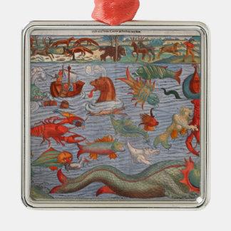 Sea Monsters Metal Ornament