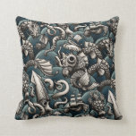 Sea Monsters Throw Pillow