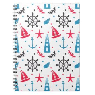 Sea Nautical Pattern on Note Book Illustration by Haidi Shabrina