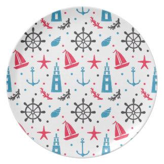 Sea Nautical Pattern on Plate Illustration by Haidi Shabrina
