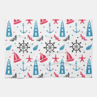 Sea Nautical Pattern on Kitchen Towel Illustration by Haidi Shabrina