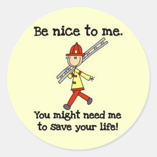 Sea Niza a los bomberos Pegatinas Redondas