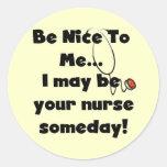 Sea Niza camisetas y regalos de la enfermera Pegatinas Redondas