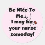 Sea Niza camisetas y regalos de la enfermera Etiqueta Redonda