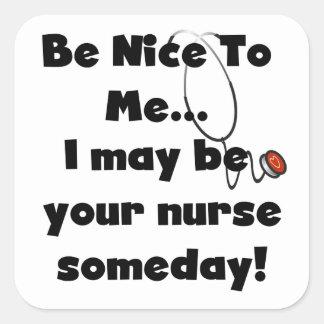 Sea Niza camisetas y regalos de la enfermera Calcomanía Cuadradas Personalizada