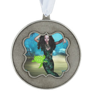 Sea Nymph Scalloped Pewter Christmas Ornament