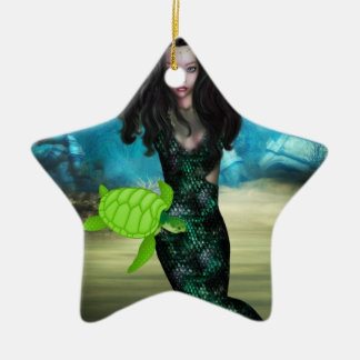 Sea Nymph Double-Sided Star Ceramic Christmas Ornament