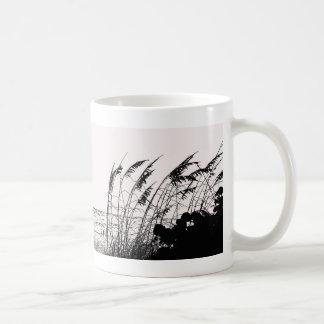 Sea Oats Against Ocean, black and white Classic White Coffee Mug