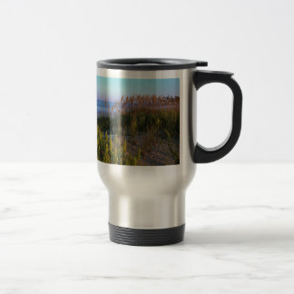 Sea Oats and Beach 15 Oz Stainless Steel Travel Mug