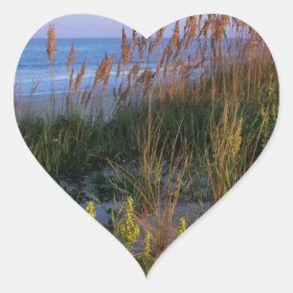 Sea Oats and Beach Heart Sticker