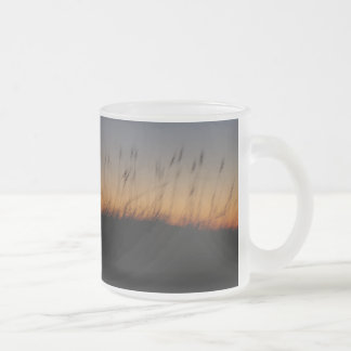 Sea Oats and Dunes at Sunset Frosted Glass Coffee Mug