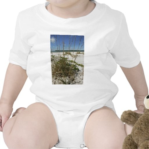Sea oats and other beach vegetation baby bodysuits