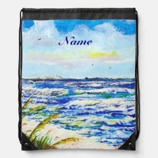Sea Oats and Sunshine Skyway Tampa Bay Florida Drawstring Backpacks