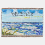 Sea Oats and Sunshine Skyway Tampa Bay Florida Throw Blanket