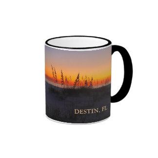 Sea Oats at Sunset - Destin, Florida - Peach Ringer Coffee Mug