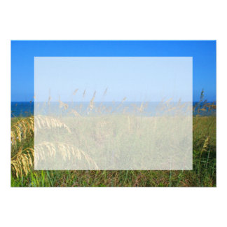 Sea oats beach dune ocean and sky photo personalized announcements