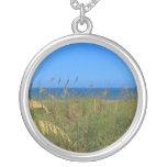 Sea oats beach dune ocean and sky photo necklaces