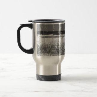 Sea oats on beach B/W - traveler / commuter cup 15 Oz Stainless Steel Travel Mug