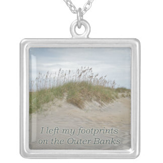 Sea Oats on Sand Dune Outer Banks NC Square Pendant Necklace