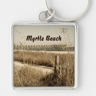 Sea Oats on the Dunes at Myrtle Beach Silver-Colored Square Keychain