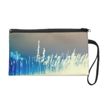 sea oats outline yellow abstract beach image wristlet clutch