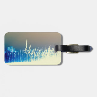 sea oats outline yellow abstract beach image luggage tag