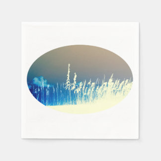 sea oats outline yellow abstract beach image disposable napkin
