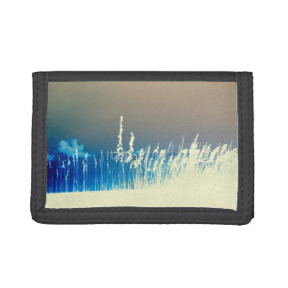 sea oats outline yellow abstract beach image trifold wallets