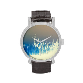 sea oats outline yellow abstract beach image wrist watch