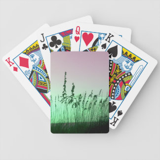 sea oats red green florida sunrise bicycle playing cards