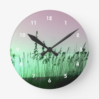 sea oats red green florida sunrise round wall clocks